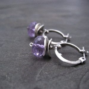 Amethyst earrings, small hoops, dangle earrings, genuine amethyst, rondelle drop, lavender purple, faceted bead, handmade | Natural genuine Amethyst earrings. Buy crystal jewelry, handmade handcrafted artisan jewelry for women.  Unique handmade gift ideas. #jewelry #beadedearrings #beadedjewelry #gift #shopping #handmadejewelry #fashion #style #product #earrings #affiliate #ad