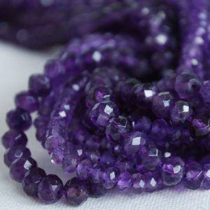 "Shop Amethyst Faceted Beads! High Quality Grade A Natural Amethyst Semi-Precious Gemstone FACETED Rondelle Spacer Beads – 3mm 4mm 6mm – 15.5"" strand 