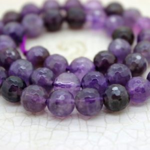 Shop Amethyst Faceted Beads! Amethyst Faceted Round Ball Sphere Natural Loose Gemstone Beads (6mm 8mm 10mm) – Full Strand | Natural genuine faceted Amethyst beads for beading and jewelry making.  #jewelry #beads #beadedjewelry #diyjewelry #jewelrymaking #beadstore #beading #affiliate