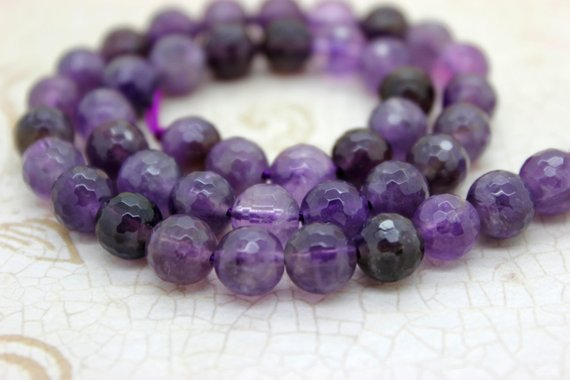 Amethyst Faceted Round Ball Sphere Natural Loose Gemstone Beads (6mm 8mm 10mm) - Full Strand