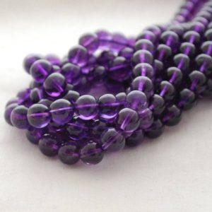 "Shop Amethyst Round Beads! High Quality Grade Aa Natural Amethyst Semi-precious Gemstone Round Beads – 8mm – 15"" Strand 