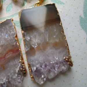 Amethyst Slice Druzy Drusy Stalactite Slice Pendant Charms, 24k Gold Edged, ap41.6tl | Natural genuine beads Gemstone beads for beading and jewelry making.  #jewelry #beads #beadedjewelry #diyjewelry #jewelrymaking #beadstore #beading #affiliate #ad