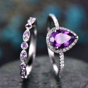 Shop Amethyst Engagement Rings! Amethyst Engagement Ring Solid 14k White Gold Pear Shaped Engagement Ring Amethyst Wedding Ring 2pcs Bridal Set Birthstone Anniversary Ring | Natural genuine Amethyst rings, simple unique alternative gemstone engagement rings. #rings #jewelry #bridal #wedding #jewelryaccessories #engagementrings #weddingideas #affiliate #ad