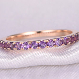 Natural 2mm Round Amethyst Wedding Ring Anniversary Ring 14k Rose Gold Half Eternity Matching Band Stackable Ring February Birthstone | Natural genuine Array jewelry. Buy handcrafted artisan wedding jewelry.  Unique handmade bridal jewelry gift ideas. #jewelry #beadedjewelry #gift #crystaljewelry #shopping #handmadejewelry #wedding #bridal #jewelry #affiliate #ad