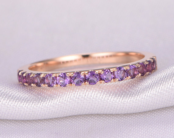 Natural 2mm Round Amethyst Wedding Ring Anniversary Ring 14k Rose Gold Half Eternity Matching Band Stackable Ring February Birthstone
