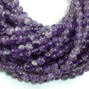 Shop Amethyst Round Beads! Amethyst Beads, Approx 5.5mm Round Beads, 15.5 Inch, Full strand, Approx 72-75 beads, Hole 0.8mm (115054018) | Natural genuine round Amethyst beads for beading and jewelry making.  #jewelry #beads #beadedjewelry #diyjewelry #jewelrymaking #beadstore #beading #affiliate