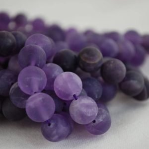 "High Quality Grade A Natural Amethyst (purple) – FROSTED MATTE – Semi-precious Gemstone Round Beads – 4mm, 6mm, 8mm, 10mm – 15.5"" strand 