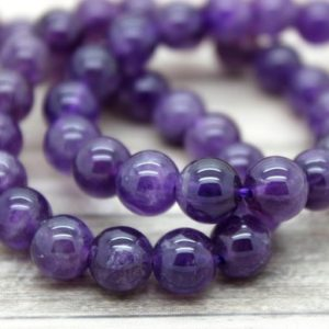 Purple Natural Amethyst Round Gemstone Beads (4mm 6mm 8mm 10mm 12mm) | Natural genuine beads Gemstone beads for beading and jewelry making.  #jewelry #beads #beadedjewelry #diyjewelry #jewelrymaking #beadstore #beading #affiliate #ad
