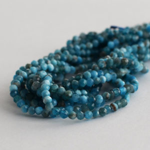 """Shop Apatite Faceted Beads! High Quality Grade A Natural Apatite Semi-Precious Gemstone – FACETED – Round Beads – 2mm – 15.5"""" long 