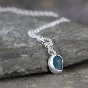 Shop Apatite Necklaces! Apatite Necklace In Sterling Silver – Minimalist Jewellery – Layering Necklace – Ocean Color Gemstone | Natural genuine Apatite necklaces. Buy crystal jewelry, handmade handcrafted artisan jewelry for women.  Unique handmade gift ideas. #jewelry #beadednecklaces #beadedjewelry #gift #shopping #handmadejewelry #fashion #style #product #necklaces #affiliate #ad