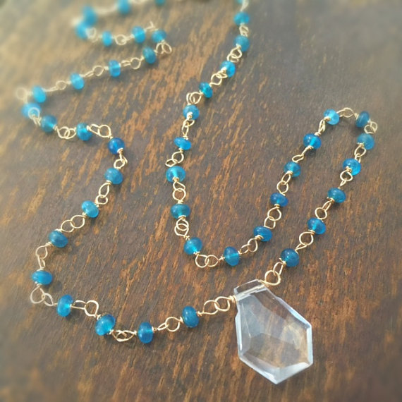 Blue Apatite Necklace - Gold Jewellery - Crystal Quartz Pendant - Wire Wrapped Jewelry - Gemstone