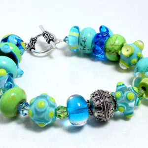 Aqua Lampwork Bracelet with Sterling Silver and Swarovski Crystals |  #affiliate