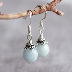 Shop Aquamarine Earrings! Natural Aquamarine Sterling Silver Earrings genuine blue gemstone dainty classic everyday dangle drops March birthstone gift for her 4601 | Natural genuine Aquamarine earrings. Buy crystal jewelry, handmade handcrafted artisan jewelry for women.  Unique handmade gift ideas. #jewelry #beadedearrings #beadedjewelry #gift #shopping #handmadejewelry #fashion #style #product #earrings #affiliate #ad