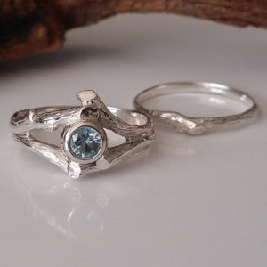 14k Gold Twig Style Engagement Ring, Blue Aquamarine Wedding Band Set, Bridal Set, Branch, Nature, Tree Style by Dawn Vertrees | Natural genuine Array rings, simple unique alternative gemstone engagement rings. #rings #jewelry #bridal #wedding #jewelryaccessories #engagementrings #weddingideas #affiliate #ad