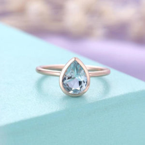 Aquamarine Engagement Ring Rose Gold Vintage Minimalist engagement ring Wedding  Bridal  Simple Pear Shaped Valentines day | Natural genuine Array rings, simple unique alternative gemstone engagement rings. #rings #jewelry #bridal #wedding #jewelryaccessories #engagementrings #weddingideas #affiliate #ad