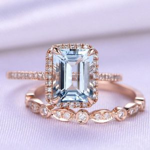 Shop Aquamarine Rings! Aquamarine Ring Set Emerald Cut Aquamarine Engagement Ring 6x8mm Gemstone Half Eternity Diamond Wedding Band Solid 14k Rose Gold Bridal Set | Natural genuine Aquamarine rings, simple unique alternative gemstone engagement rings. #rings #jewelry #bridal #wedding #jewelryaccessories #engagementrings #weddingideas #affiliate #ad