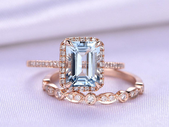 Aquamarine Ring Set Emerald Cut Aquamarine Engagement Ring 6x8mm Gemstone Half Eternity Diamond Wedding Band Solid 14k Rose Gold Bridal Set
