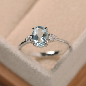 Shop Aquamarine Rings! Aquamarine ring silver, oval cut aquamarine, March birthstone gemstone ring | Natural genuine Aquamarine rings, simple unique handcrafted gemstone rings. #rings #jewelry #shopping #gift #handmade #fashion #style #affiliate #ad