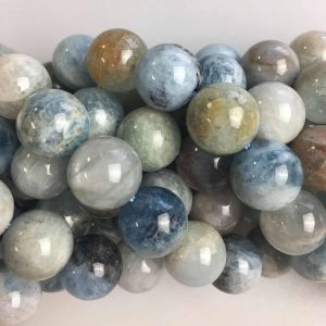 "Natural Multi-Color Aquamarine Smooth Round Beads 7mm-12mm 15.5"" Strand 