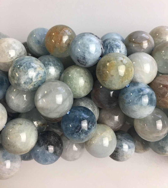 Blue And Light Green Aquamarine Genuine Smooth Round Gemstone Beads 6mm/8mm/10mm/12mm 15.5 Inch Strand