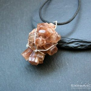 Shop Aragonite Pendants! Aragonite cluster pendant, raw wiring specimen, orange long boho necklace, anti-stress gemstone, Capricorn stone, gift for her, men jewelry | Natural genuine Aragonite pendants. Buy crystal jewelry, handmade handcrafted artisan jewelry for women.  Unique handmade gift ideas. #jewelry #beadedpendants #beadedjewelry #gift #shopping #handmadejewelry #fashion #style #product #pendants #affiliate #ad