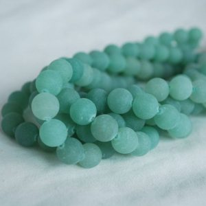 "Shop Aventurine Beads! High Quality Grade A Natural Green Aventurine Frosted – MATTE – Semi-precious Gemstone Round Beads – 4mm, 6mm, 8mm, 10mm – Approx 16"" strand 