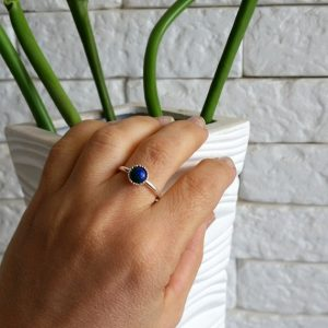 Blue stack ring, Birthstone ring, Silver stack ring, Sterling silver ring, Sterling Blue Ring, Thin ring, Azurite jewelry, Gemstone ring | Natural genuine Azurite rings, simple unique handcrafted gemstone rings. #rings #jewelry #shopping #gift #handmade #fashion #style #affiliate #ad