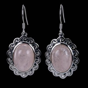 Shop Morganite Earrings! Bezel Set Morganite Cabochon Solitaire 925 Solid Sterling Silver Earrings | Natural genuine Morganite earrings. Buy crystal jewelry, handmade handcrafted artisan jewelry for women.  Unique handmade gift ideas. #jewelry #beadedearrings #beadedjewelry #gift #shopping #handmadejewelry #fashion #style #product #earrings #affiliate #ad