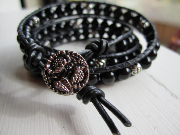 Black Onyx Triple Beaded Leather Wrap Bracelet Project