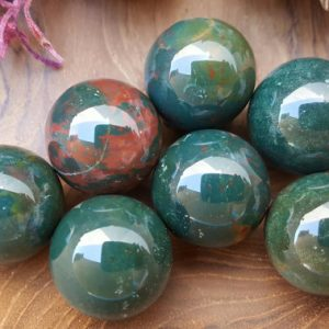 Bloodstone Crystal Sphere  – Hand Carved Gem Stone Ball for Crystal Grids or Terrarium 056 | Natural genuine stones & crystals in various shapes & sizes. Buy raw cut, tumbled, or polished gemstones for making jewelry or crystal healing energy vibration raising reiki stones. #crystals #gemstones #crystalhealing #crystalsandgemstones #energyhealing #affiliate #ad