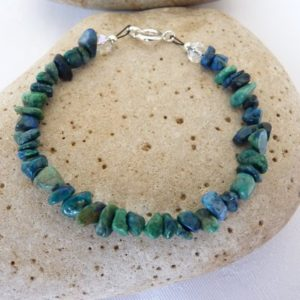 Shop Chrysocolla Jewelry! Blue Green Chrysocolla Chip Bracelet 6.5 to 8.5 Inches Scottish | Natural genuine Chrysocolla jewelry. Buy crystal jewelry, handmade handcrafted artisan jewelry for women.  Unique handmade gift ideas. #jewelry #beadedjewelry #beadedjewelry #gift #shopping #handmadejewelry #fashion #style #product #jewelry #affiliate #ad