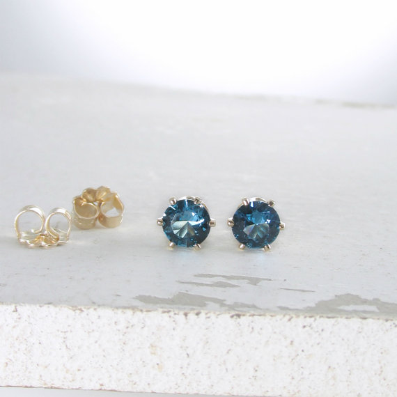 Blue Zircon December Birthstone Earrings Gold Stud Earrings Blue Stud Earrings Blue Zircon Earrings Birthstone Jewelry Holiday Gift For Her