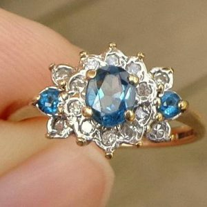 Shop Zircon Rings! Size 6, Blue Zircon, Diamond, 9k Yellow Gold Ring, Promise Ring, Engagement, Wedding, Something Blue, Gorgeous Ring | Natural genuine Zircon rings, simple unique alternative gemstone engagement rings. #rings #jewelry #bridal #wedding #jewelryaccessories #engagementrings #weddingideas #affiliate #ad