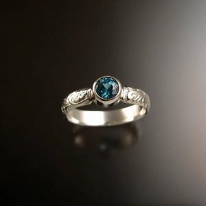 Shop Zircon Rings! Blue Zircon ring Sterling Silver blue Diamond substitute Victorian floral pattern ring made to order in your size | Natural genuine Zircon rings, simple unique handcrafted gemstone rings. #rings #jewelry #shopping #gift #handmade #fashion #style #affiliate #ad