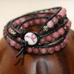 Breast Cancer Awareness Leather Wrap Bracelet Project