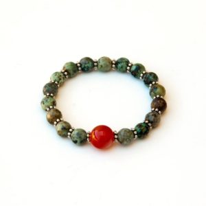 Shop Carnelian Bracelets! African Turquoise bracelet with Carnelian focal | Natural genuine Carnelian bracelets. Buy crystal jewelry, handmade handcrafted artisan jewelry for women.  Unique handmade gift ideas. #jewelry #beadedbracelets #beadedjewelry #gift #shopping #handmadejewelry #fashion #style #product #bracelets #affiliate #ad
