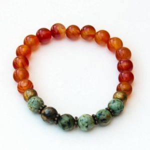 Carnelian Bracelet With African Turquoise | Natural genuine Gemstone bracelets. Buy crystal jewelry, handmade handcrafted artisan jewelry for women.  Unique handmade gift ideas. #jewelry #beadedbracelets #beadedjewelry #gift #shopping #handmadejewelry #fashion #style #product #bracelets #affiliate #ad