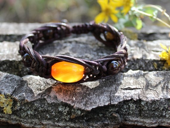 Mens Carnelian Bracelet Braid Leather Bracelet Garnet Quartz Tigers Eye 10mm Protection Stone Bracelet