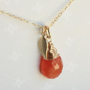 Genuine Carnelian Pendant Necklace, Gold-filled wire wrap, orange gemstone, dainty solitaire necklace, minimalist, gift for her, 4784 | Shop beautiful natural gemstone jewelry in modern, chic, boho, elegant styles. Buy crystal handmade handcrafted artisan art jewelry & accessories. #jewelry #beaded #beadedjewelry #product #gifts #shopping #style #fashion