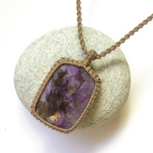 Charoite Macrame Necklace, Square Charoite Stone Necklace, Charoite Macrame Pendant, Mauve Purple, Lavender Charoite Stone, Spiritual Gift | Natural genuine Array jewelry. Buy crystal jewelry, handmade handcrafted artisan jewelry for women.  Unique handmade gift ideas. #jewelry #beadedjewelry #beadedjewelry #gift #shopping #handmadejewelry #fashion #style #product #jewelry #affiliate #ad