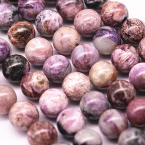 "Natural Charoite Smooth Round Beads 8mm 10mm 12mm 15.5"" Strand 