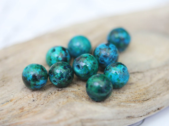 Chrysocolla Round Beads Fabulous Tones 4, 8 Or 10 Mm Turquoise Green Blue Gemstone Beads / Beads Chrysocolla Round Beads  Rustic 4 Beads