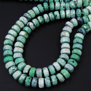 "Natural Faceted African Green Chrysoprase Rondelle Chunky Disc Wheel Heishi Nugget Beads Center Drilled Coin Large 15.5"" Strand 