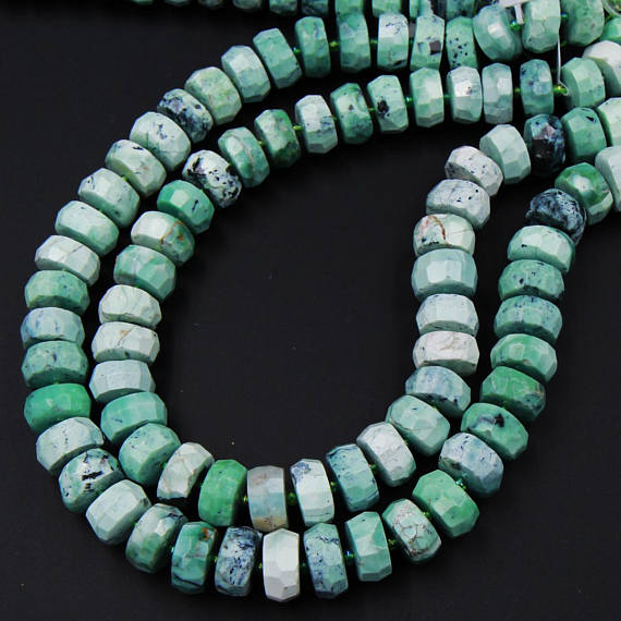 """Natural Faceted African Green Chrysoprase Rondelle Chunky Disc Wheel Heishi Nugget Beads Center Drilled Coin Large 15.5"""" Strand"""