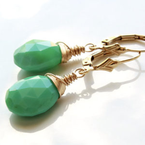 CHRYSOPRASE Gold Filled Sterling Silver Earrings wire wrapped green gemstone simple minimalist dangle drops May birthstone gift for her 4792 | Natural genuine Gemstone earrings. Buy crystal jewelry, handmade handcrafted artisan jewelry for women.  Unique handmade gift ideas. #jewelry #beadedearrings #beadedjewelry #gift #shopping #handmadejewelry #fashion #style #product #earrings #affiliate #ad