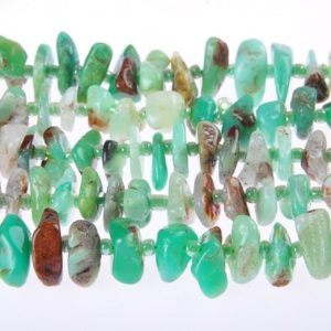 "Shop Chrysoprase Bead Shapes! Natural Chrysoprase Irregular Slice Beads 2x12mm 15.5"" Strand 