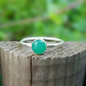 Chrysoprase Ring, Chrysoprase Gemstone Ring, Chrysoprase Silver Ribg, Chrysoprase Jewelry, Green Chrysoprase Ring, Mint Chrysoprase Ring | Natural genuine Chrysoprase rings, simple unique handcrafted gemstone rings. #rings #jewelry #shopping #gift #handmade #fashion #style #affiliate #ad