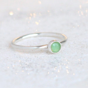 chrysoprase ring / sterling silver stacking ring. minimalist. mint green chrysoprase. May birthstone ring. green gemstone ring. stack ring. | Natural genuine Chrysoprase rings, simple unique handcrafted gemstone rings. #rings #jewelry #shopping #gift #handmade #fashion #style #affiliate #ad