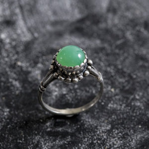 Chrysoprase Ring, Vintage Rings, Chrysoprase, Solid Silver Ring, Green Stone Ring, Vintage Ring, Spring Ring, Matching Set | Natural genuine Chrysoprase rings, simple unique handcrafted gemstone rings. #rings #jewelry #shopping #gift #handmade #fashion #style #affiliate #ad