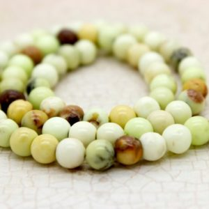 Lemon Chrysoprase Smooth Round Gemstone Beads (6mm 8mm) | Natural genuine round Chrysoprase beads for beading and jewelry making.  #jewelry #beads #beadedjewelry #diyjewelry #jewelrymaking #beadstore #beading #affiliate #ad
